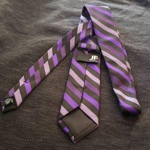 J.Farrar black and purple striped necktie